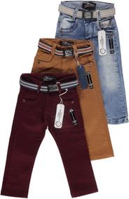 Kit 3 Calça Jeans Masculina Infantil Meninos 2 Aos 8 Anos
