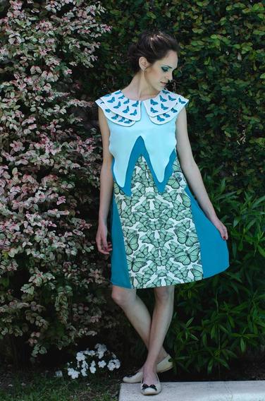 Vestido Corto Estampado Mariposas - Diseño De Autor
