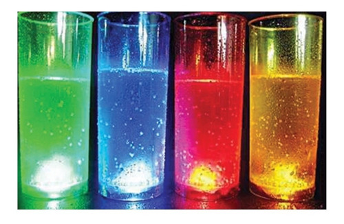 50 Vasos Trago Largo Luminoso Led Fiestas Cotillon Con Boton
