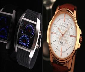 Kit C/ 2 Relógios Masculino Esportivo E Social Luxo + Caixa