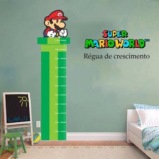 Super Mario Bros Adesivo Régua Altura Crescimento