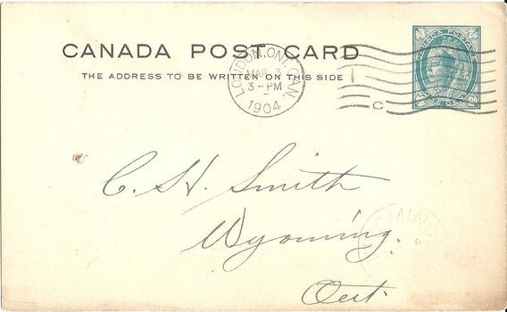 Canadá Entero Postal 1904 Circulada A Ontario