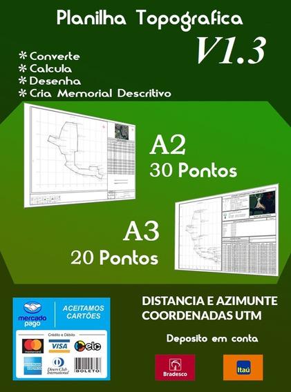 Planilha Matriz Ver.: 1.3- Topográfica A2 / A3 Até 30 Pontos