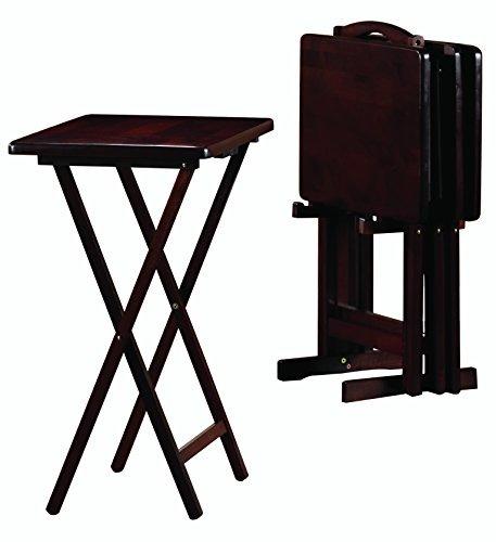5piece Mesa Pj A Y Plegable De Tv Aperitivos Wood Bandeja Y7ybf6g