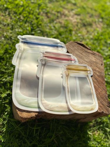 Imagen 1 de 8 de Bolsas Zipper Hermetica Reutilizable Transparente Frasco X5