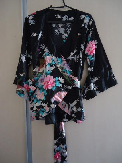 Blusa Chinesa Oriental Kimono Transpassada Manga 3/4 Seda