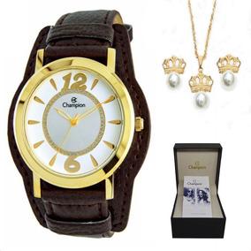 Relógio Champion Feminino Cn20284w + Kit Brinde + N. Fiscal