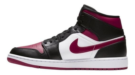 Tênis Nike Air Jordan 1 Mid Black/noble Red/white