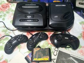 Mega Drive 3 + Sega Cd Com 3 Controles, 2 Cartuchos E 1 Cd