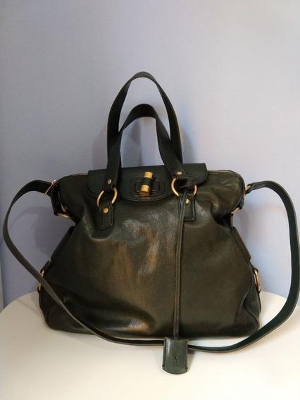 Bolsa Yves Saint Laurent Leather Muse Messenger Bag Green