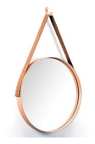 Espelho Adnet Couro Natural 70cm