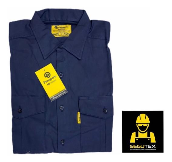 Camisa Pampero Trabajo Azul Oscuro Talle 38 Al 48