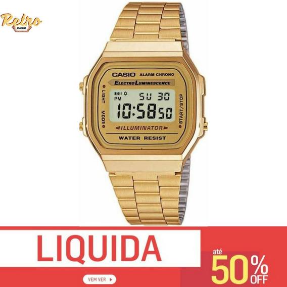Relógio Csio Retro Vintage A168 Aço Inoxidavel Dourado 50off