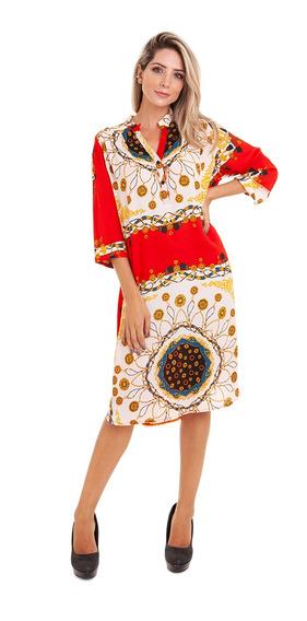 Vestido Chemise Crepe Gola Padre Vermelho Kinara
