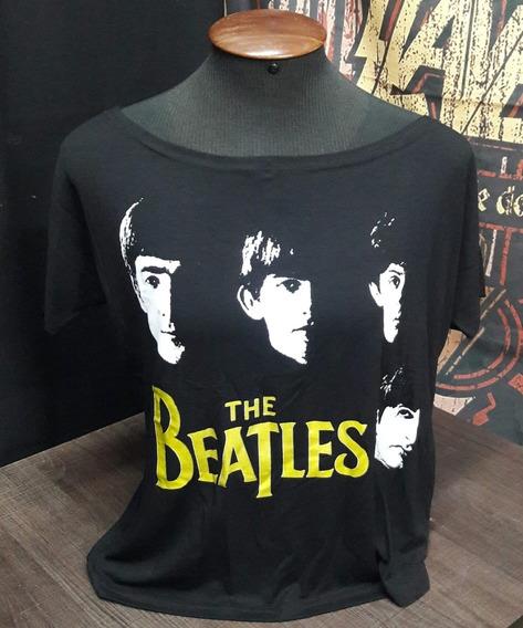 Camiseta Beatles Feminina Rostos Canoa Viscose Show Malhas