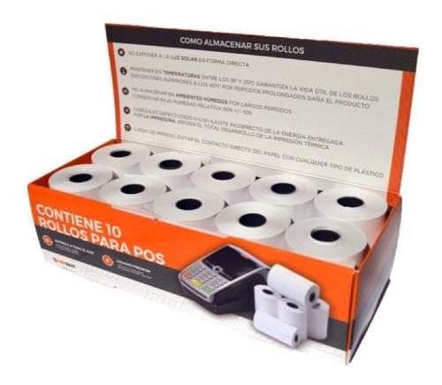 Caja 10 Unidades De Rollos De Papel Termico Premium X 19 Mts
