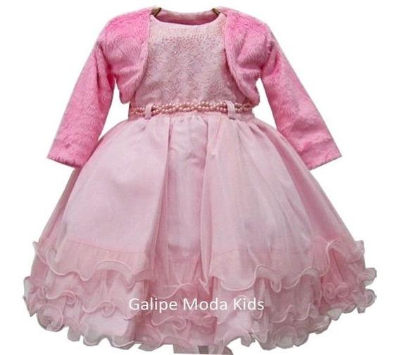 Vestido Inverno Infantil Luxo Rosa Tamanhios 1 Ao 3
