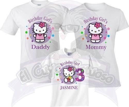 Trío Playeras Familia Cumpleaños Kitty Modelo 2