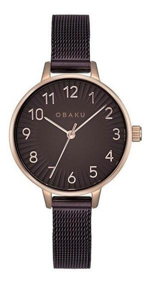 Reloj Obaku V237lxvnmn Acero Café-oro Rosa De Dama Original