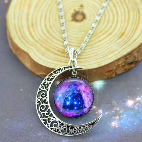 Colar Feminino Universo Galáxia Espaço Lua Roxo