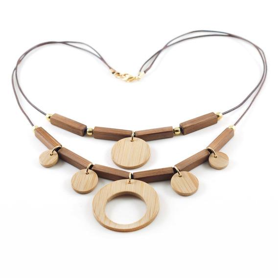 Equilíbrio - Colar Artesanal Em Bambu E Ouro - Biojoia