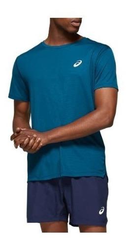 Remera Asics Silver Ss Top Azul Petroleo Hombre Running