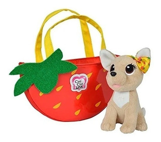 Chichi Love Strawberry Peluche Perrito Mascota Con Cartera
