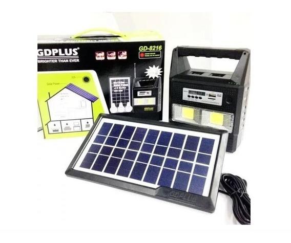 Kit Placa Solar Com Bateria 3 Lâmpadas Led Lanterna Rádio