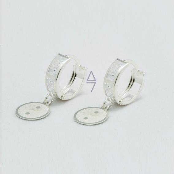 Aretes Yin Yang De Plata 925 Huggies Con Zirconia Para Dama