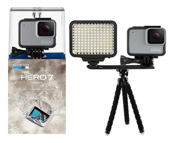 Gopro Hero 7 White Câmera + Iluminador Led E Mini Tripé