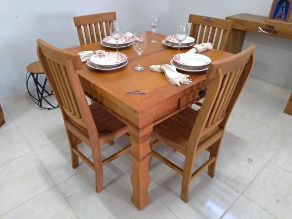 Mesa De Jantar Rústica 1m Pé Torneado + 4 Cadeiras Mineiras Conjunto Em Madeira Maciça De Lei Peroba Rosa De Demolição