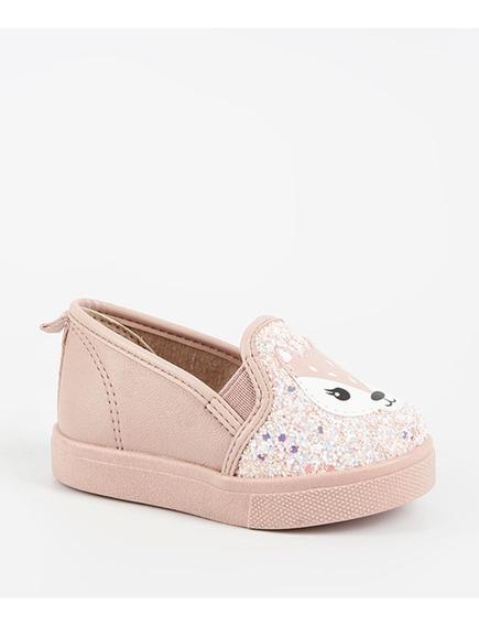 Tênis Bebê Slip On Glitter Raposa Molekinha