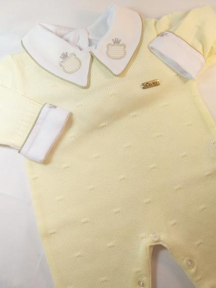 Macacão De Linha Amarelo Fashion Boy *(s/body Gola E Punho)