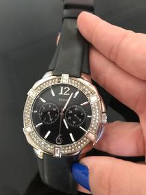 Relógio Guess Preto E Prata Com Cristal Swarovski