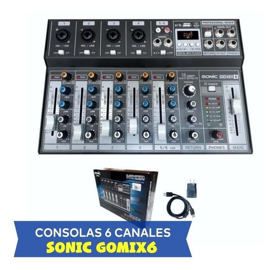 Consola De 6 Canales Usb/bt/efectos Dsp Gomix6 - Sonic