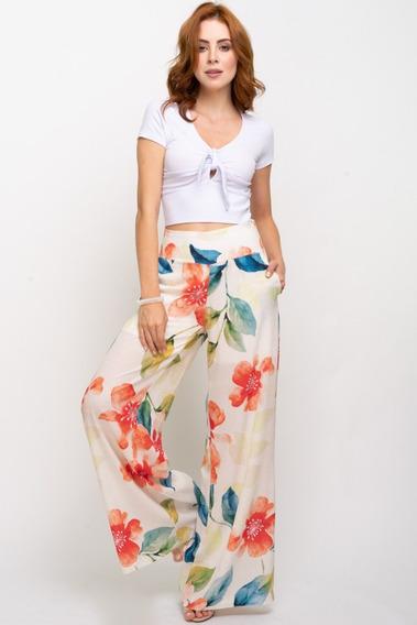 Calça Pantalona Floral Aquarela