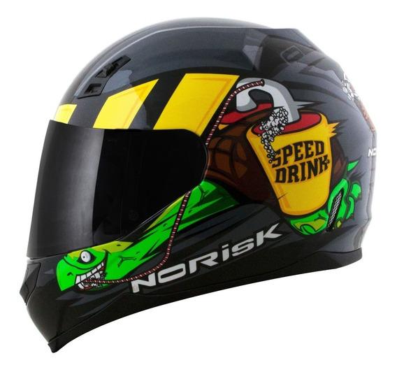 Capacete Norisk Fechado Ff391 Speed Drink Cinza +vendido
