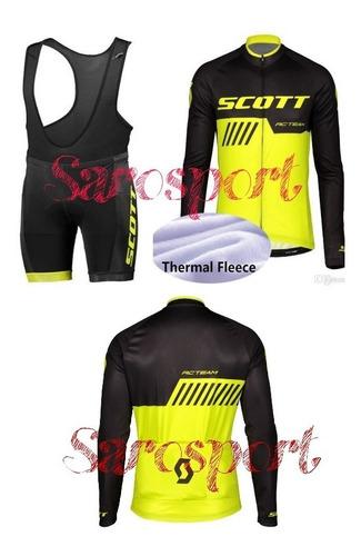 Uniforme De Ciclismo Scott. Manga Larga Y Pantaloneta Tipo P