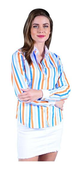 Camisa Mujer Porto Blanco Manga Larga Azul Cielo