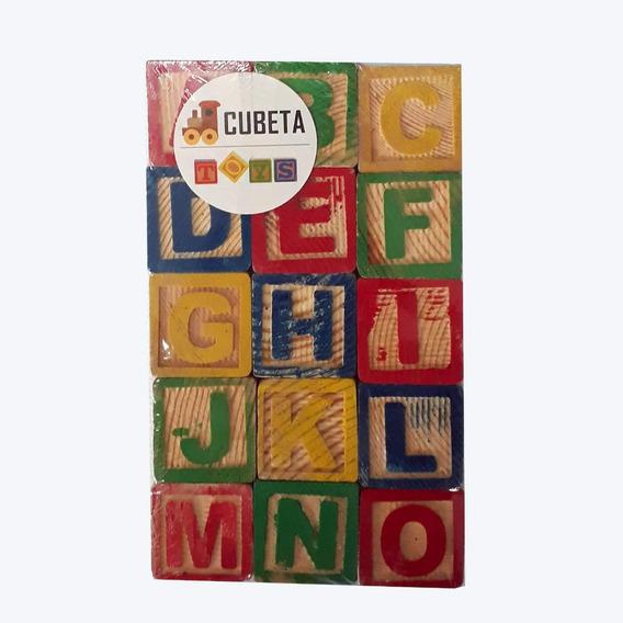 Cubos Madera Didáctico Letras Números Aprendizaje Niños Abecedario Infantil Ideal Regalo