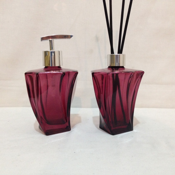 Kit Lavabo Banheiro Saboneteira Vidro Elegance Luxo