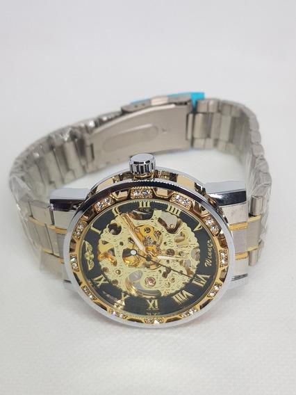 Winner Homens Relógio Automático Moda Diamante Exibição Lumi