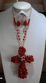 Collar Chapa De Oro, Cristales Y Corales