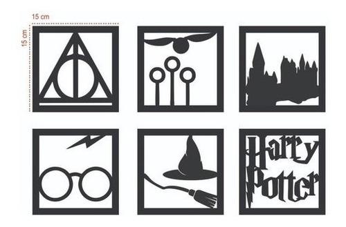Kit 6 Quadros Harry Potter Mdf Preto Fosco - Lançamento