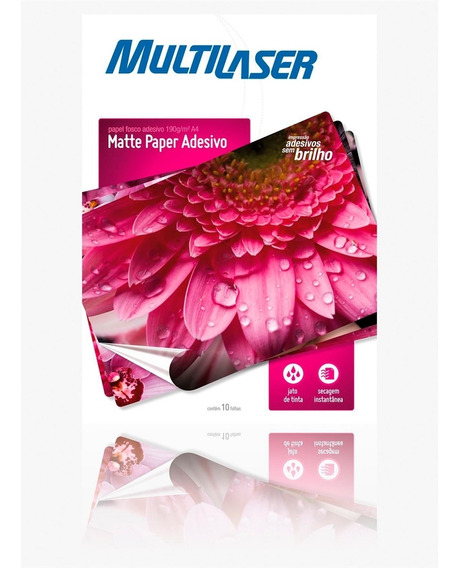 Papel Fosco Adesivo A4 Multilaser Pe007 Matte 10 Folhas