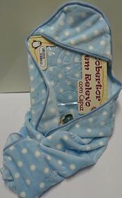 Cobertor Bebe Relevo Com Capuz Jolitex Azul Menino Raschel