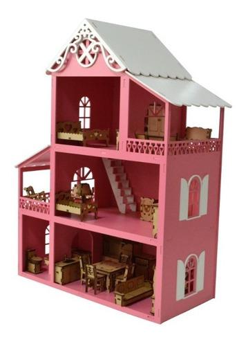 Casa Casinha Polly Mdf Pintada + Kit Mini Móveis