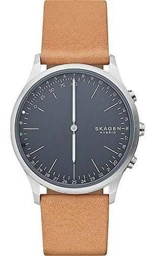 Skagen Jorn Reloj Inteligente De Cuero Y Acero Inoxidable, C