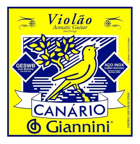 Imagem 1 de 6 de Encordoamento Violão Aço Inox Jogo C/6 Giannini Canario Novo
