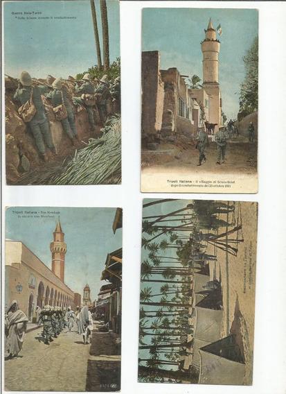 7 Antigos Cartão Postal Guerra Italo/turca Tripoli Italiana